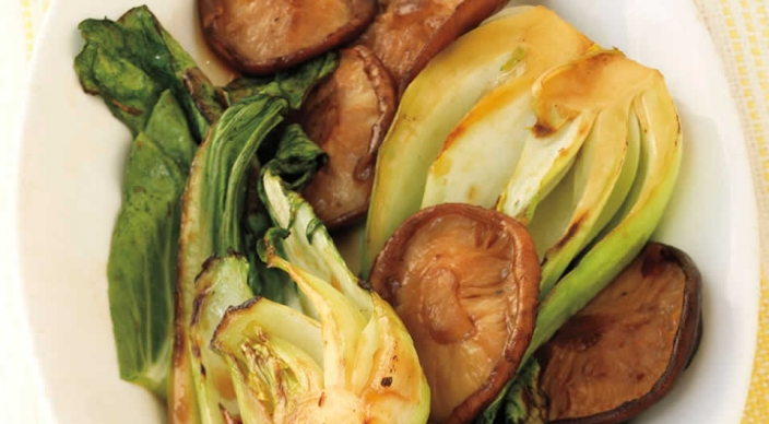 Image of Marinated Baby Bok Choy and Shiitakes