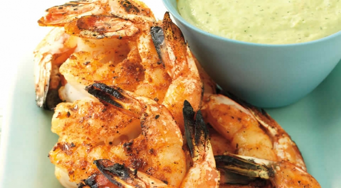 Image of Juicy Shrimp with Roasted Chile and Avocado Sauce