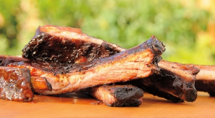 Slow-Smoked Spareribs with Sweet-and-Sour Barbecue Sauce Recipe from ...