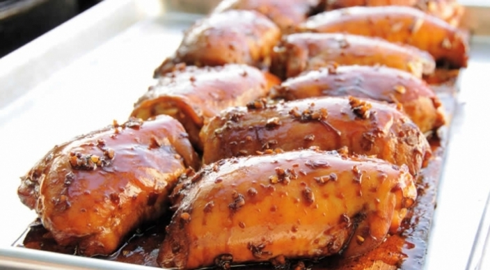 Image of Cedar-Planked Chicken Thighs with Soy-Ginger Glaze