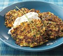 Image of Zucchini, Carrot, and Parsnip Patties with Lemon Yogurt Sauce
