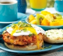 Image of Smoked Salmon Burgers with Fried Eggs and Scallion Cream Cheese