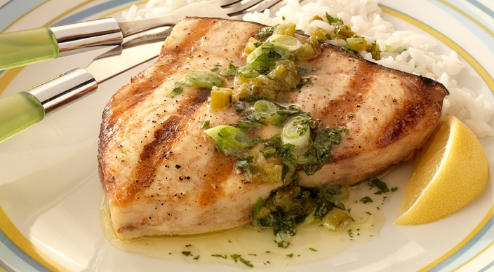 Swordfish steaks with jalape o mint butter sauce for Sword fish recipes