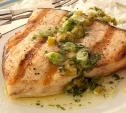 Image of Swordfish Steaks with Jalapeño-Mint Butter Sauce