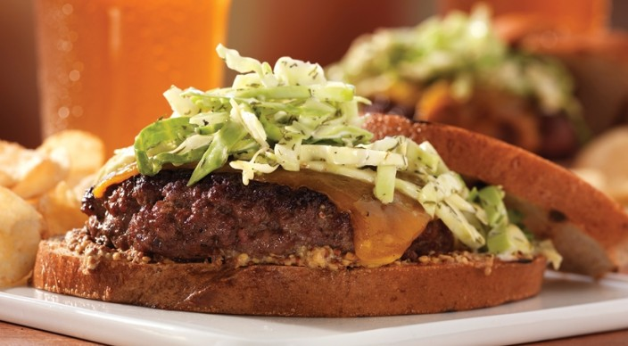 Image of St Patty Cheeseburgers with Cabbage on Rye