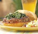 Image of Spicy Ginger-Scallion Burgers with Sesame Spinach