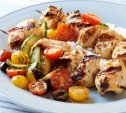 Image of Chicken Kabobs with Harissa and Cucumber-Tomato Salad