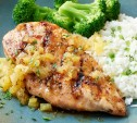 Image of Pineapple-Glazed Chicken Breasts with Lemon-Jalapeño Rice