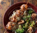Image of Hoisin Chicken Skewers with Broccoli and Mushrooms