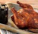 Image of Beer Can Chicken Smoked with Oak Wood